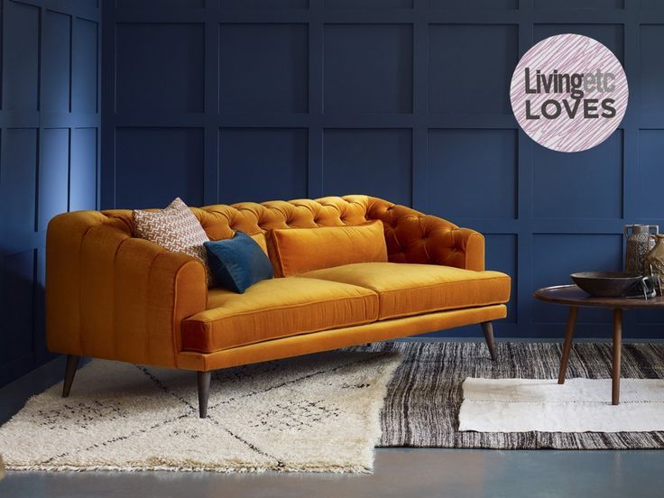 Interesting in the living room.  Maybe comfy enough for the family room.  Earl Grey mohair Chesterfield in Turmeric.  100 fabric options. 3 Seater: 87.8w x 38.58d x 33.9h  2 Seater: 79.92w x 38.58d x 33.89h     Starting at £1,615.50 on sale.  Living Etc Oct 2016 p. 188