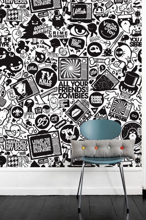 LOVE this wall. Great for a teenager's room. Not with these words and illustrations, though. I'd go for a totally different concept.