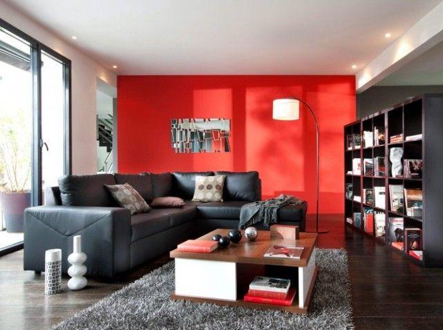 Mur rouge et fauteuil noir salle a manger rouge pinterest m - Deco salon rouge et noir ...