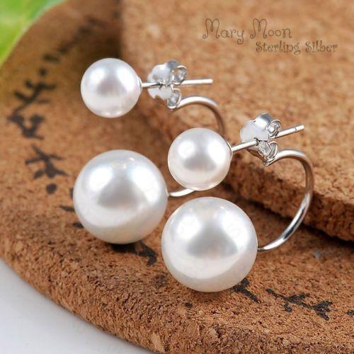 Doppel-Perlen-Ohrstecker-Sterling-Silber-Ohrringe-doppel-modern-elegant-Damen