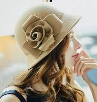 Fashion wool bucket hat with flower for lady felt winter hats