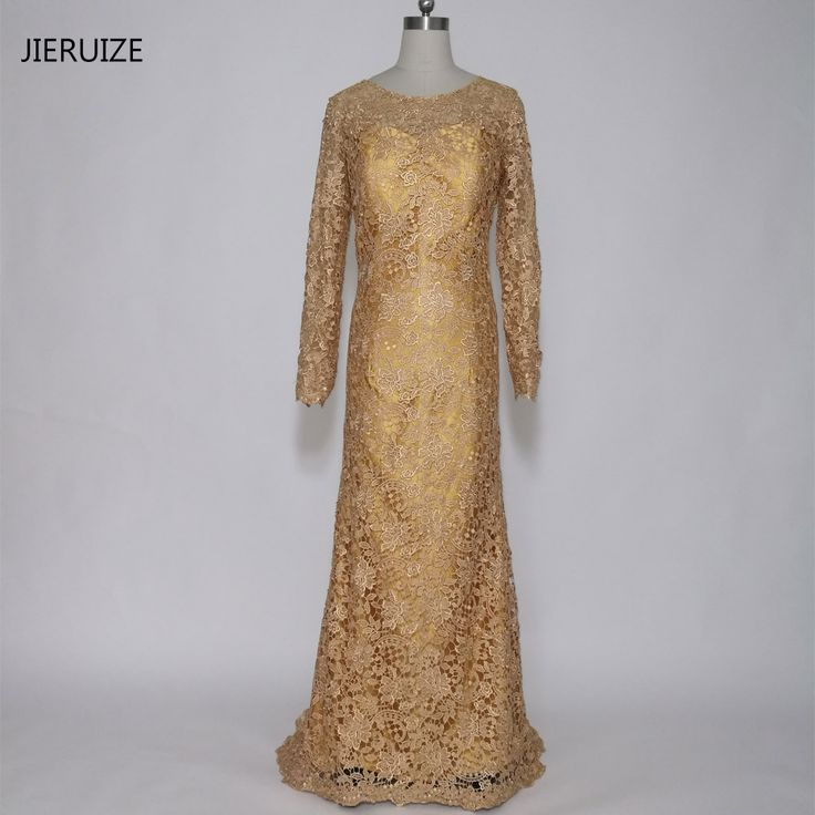 JIERUIZE robe de soiree Gold Lace Mermaid Long Evening Dresses Long Sleeves Mother of the Bride Dress Formal Dress abendkleider
