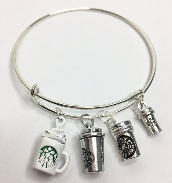 15.99$ Coffee Lover's Expandable Bangle Charm Bracelet | Motivational Fitness Jewelry - Miss Fit Boutique