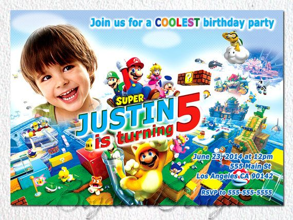 Mario invitation Super Mario invitation Mario by BogdanDesign, $9.00