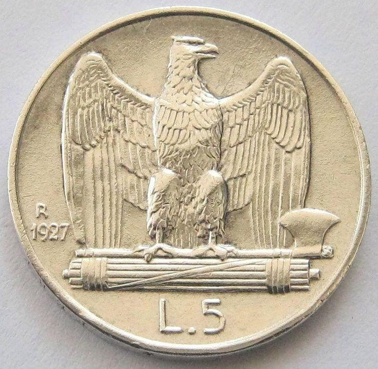 Italy, Silver Coin, 5 Lire 1927 R *FERT*, TOP High Grade, AUN !