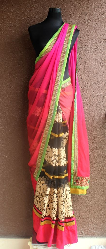 PSS152 Saree in Black net pleats with beige thread work and red-fuchsia ombre chiffon pallu with copper zardozi hand work border and parrot green accent  To get more details, please write in to info@pritisahni.com
