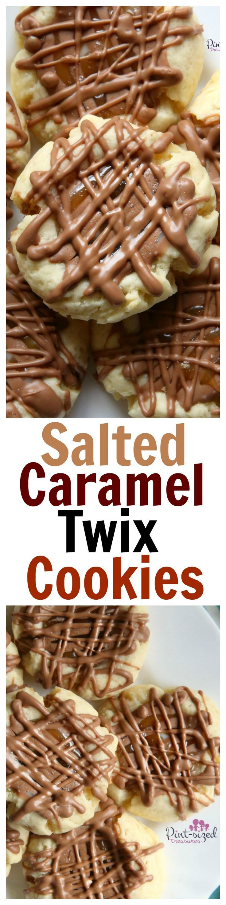 The perfect shortbread cookie is drizzled in chocolate and caramel and filled with a super sweet secret to create the perfect, salted caramel Twix cookie! @alicanwrite