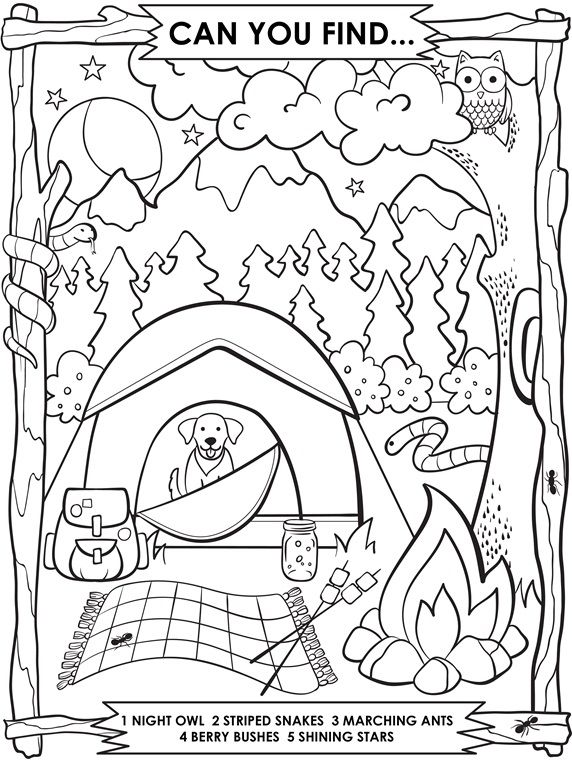 Camping Search And Find On Crayola Com Camping Coloring Pages Summer Coloring Pages Coloring Pages