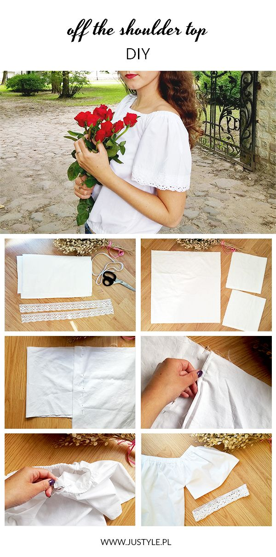 Jak zrobić bluzkę z odkrytymi ramionami. Koronkowe rękawy. #tutorial #DIY