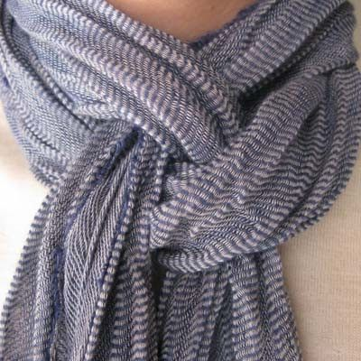 This site is actually awesome.  She demonstrates a bunch of different Scarf Tying Tutorials.  It's a little video, then you can click on them for slower tutorials.  lb.
