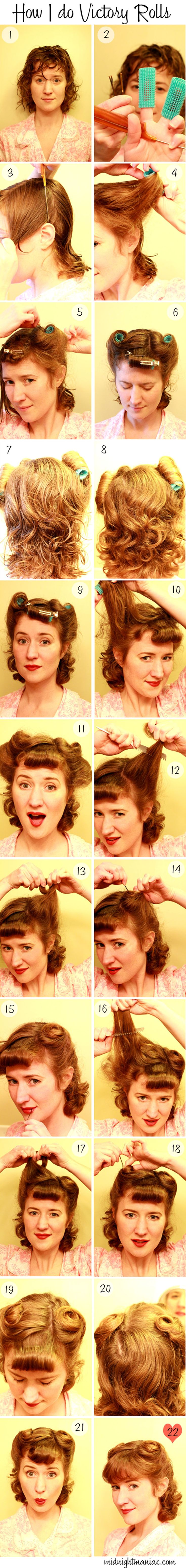 My hairs a little too thick to do it like this, but I thought it would be good for other people. Victory rolls are so beautiful.