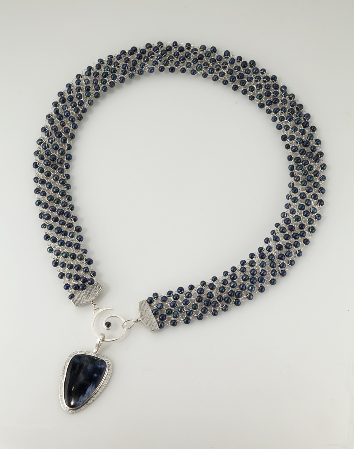 Handwoven, reversible pearl necklace with Pietersite pendant by Elizabeth Lyne