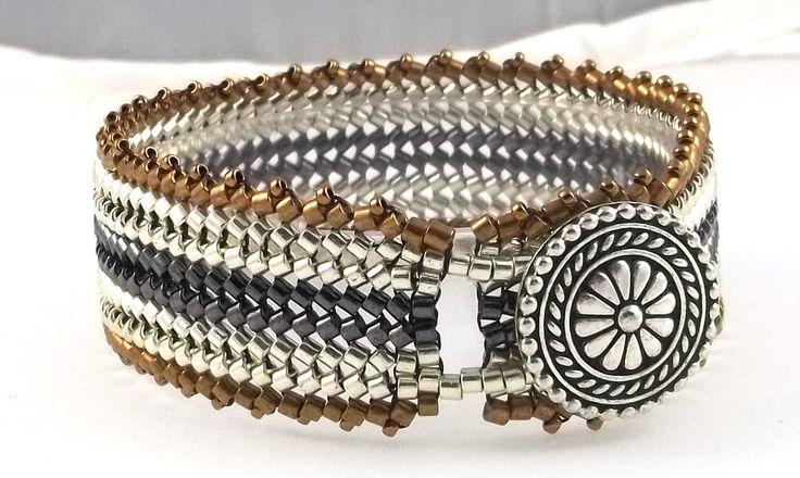 Woven Beaded Herringbone Bracelet Metallic Silver by BeBoDesigns