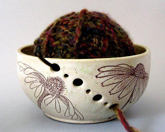 Knitting Bowl - Yarn Bowl - Botanical - Hand Thrown Ceramic Stoneware Pottery
