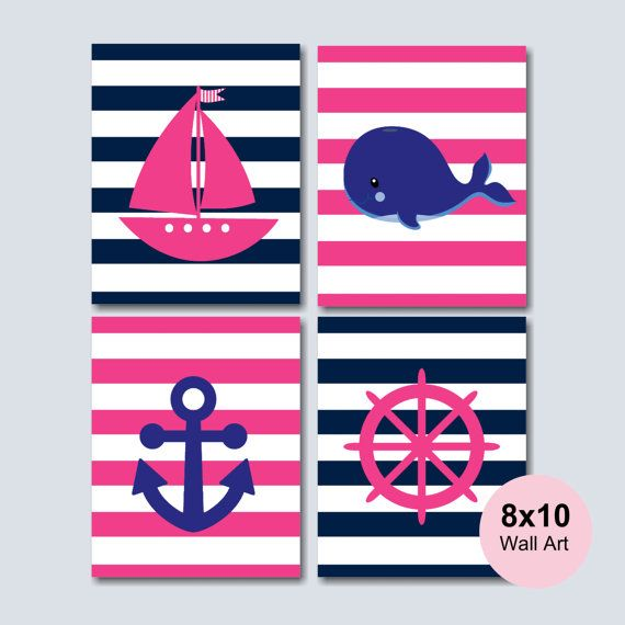Girl Nautical Nursery Wall Art Pink Navy by SweetBloomsDecor