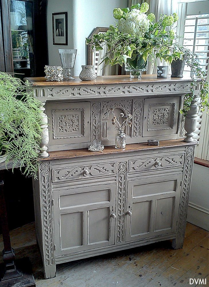 Lovely Painted Shabby Chic Antique Carved Oak Dresser Sideboard Court Cupboard
