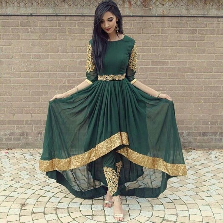 Green Georgette Embroidered Salwar Suit
