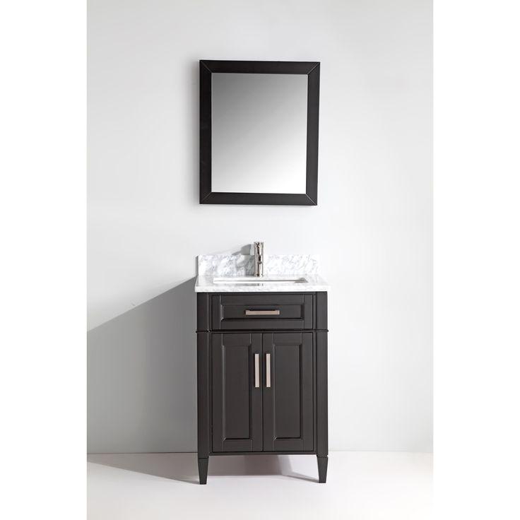 Vanity Art Wood 24-inch Single-sink Bathroom Vanity Set with Marble Top