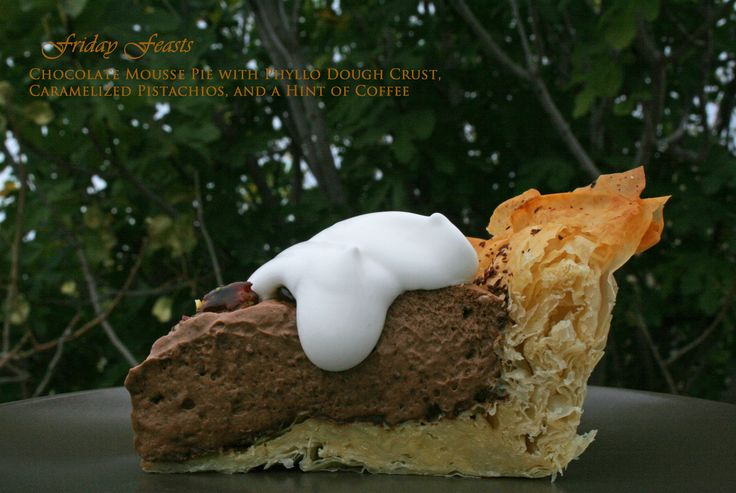 Chocolate Mousse Pie with Phyllo Dough Pie, Caramelized Pistachios, and a Hint of Coffee  4 Winter Recipes to Enjoy with Beer   Friday Feasts  http://2via.me/JravHpi111