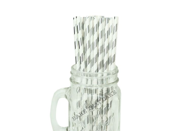 50 x Silver Foil Stripe Paper Straws Drink Wedding Party Event Striped Drinking