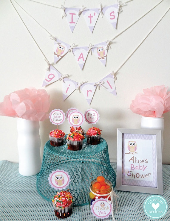 owl baby shower itu0027s a girl by on etsy