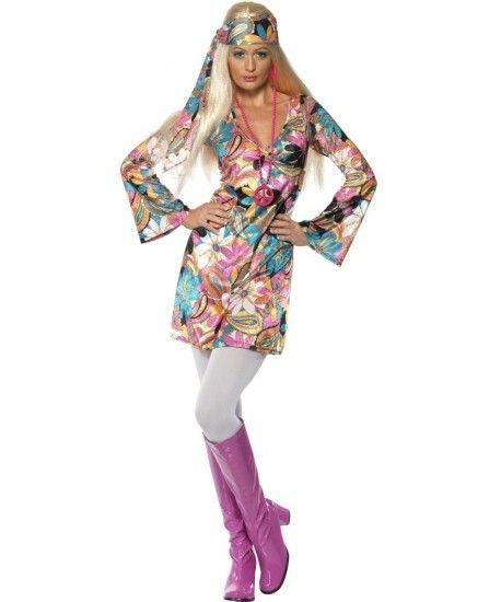 Costume anni 70 Hippie Include abito e fascia per capelli. Cerca gli accessori nel sito