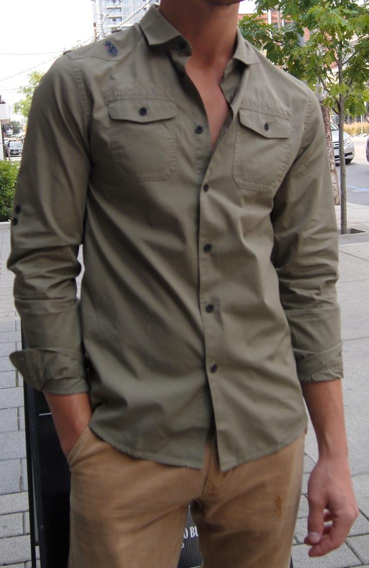 United Kingdom of Luke green military shirt.
