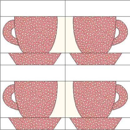 Small Block, coffee cup pattern from 1930s sampler quilt.