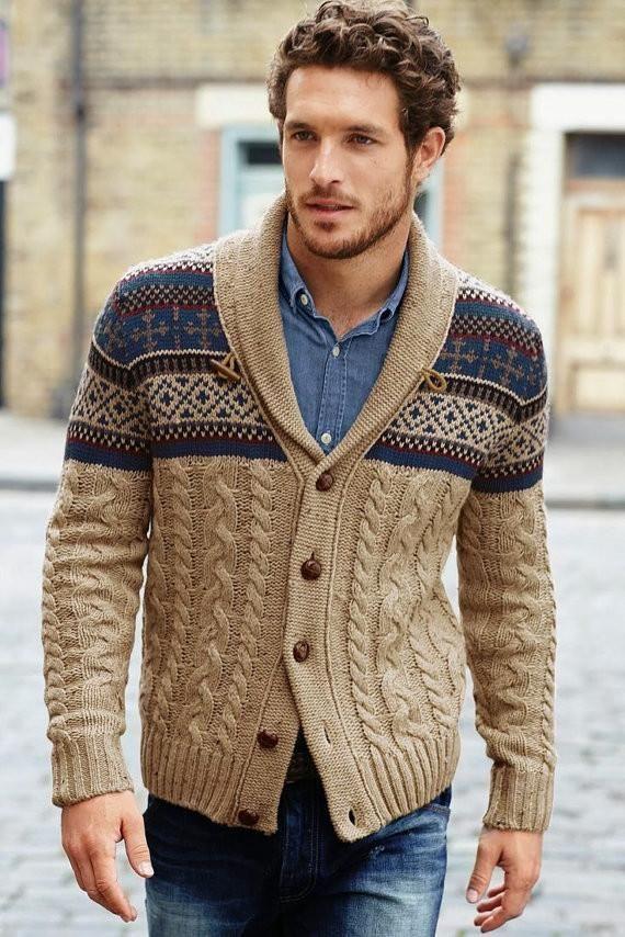 Mens wool hand knit jacquard cardigan 46A
