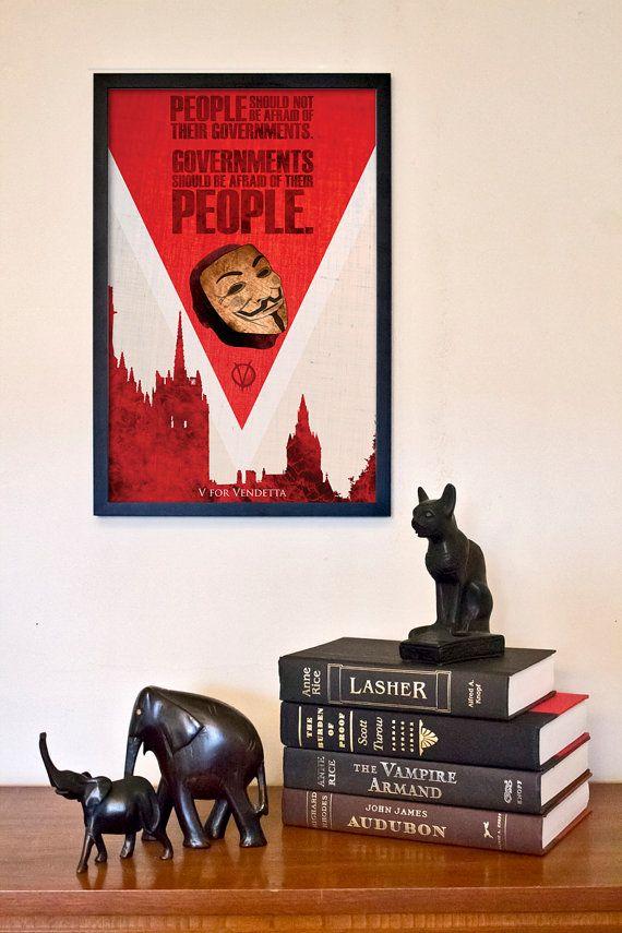 V for Vendetta Fantasy Movie Poster  11x17 Vintage by TheGeekerie, $18.00 #movieposter #graphicdesign #artprint #action #adventure #social #anarchy #vendetta #natalieportman