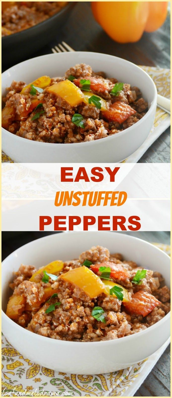 Easy Unstuffed Peppers made in one pan, with beef, pork and quinoa for a gluten free, easy budget friendly dinner!