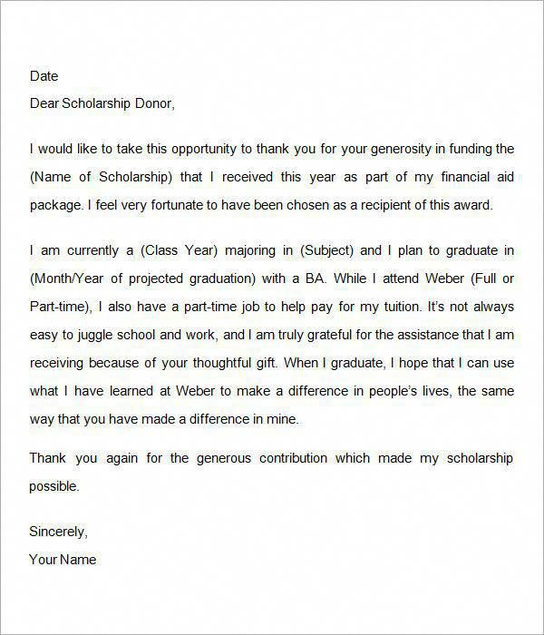 Pin By Molly Hunt On School Job Scholarship Thank You Letter