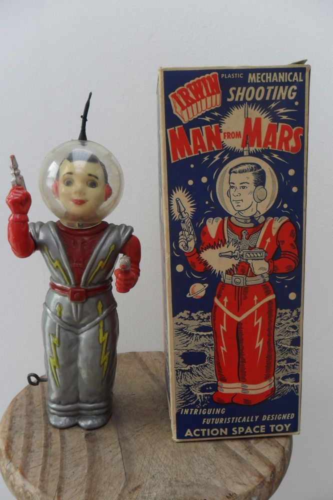 Rare Mechanical Space Man from Mars Robot by Irwin Made in USA 1950's Box