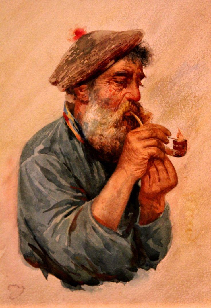 Бакст Лев. 1866-1924 Рыбак с курительной трубкой. 1890-е Бумага, наклеенная на картон, акварель, белила.