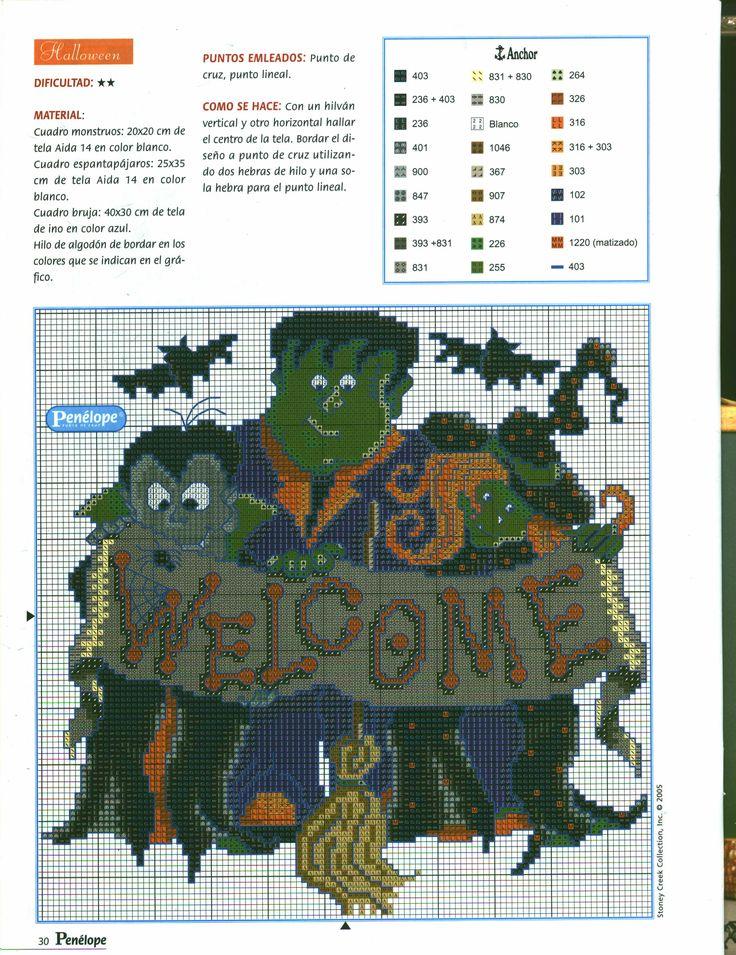 660 besten Cross stitch - Halloween Bilder auf Pinterest | Ph ...
