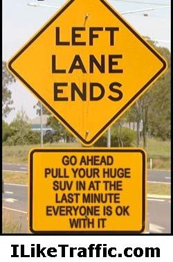 Left lane ends…