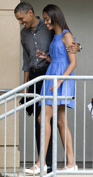 Daddy's girl: President Barack Obama and his growing daughter Malia leaving Easter service at St. John's Episcopal Church in March (left) and at the Strathmore Music Center to watch a performance by Sasha (right)