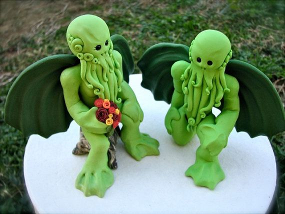 Cthulhus in Love Wedding Cake Topper by theaircastle on Etsy, $200.00