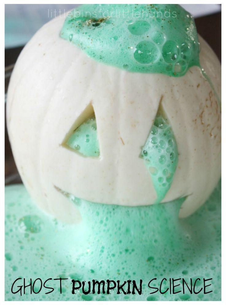 Halloween Ghost Pumpkin Science Activity. Kitchen science for Halloween. Baking soda science experiment for kids.