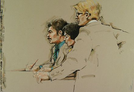 This is an example of a court sketch. Court sketches really amaze me because the artists draw these sketches in a matter of minutes. Also, a reporter is the one usually telling the story, but all in a matter of one sketch, a person can tell what is going on.    http://en.m.wikipedia.org/wiki/Courtroom_sketch