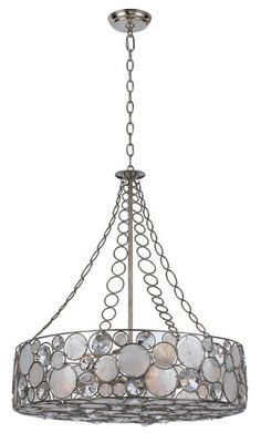 Palla 8 Light Drum Chandelier With Natural White Capiz Shell And Hand