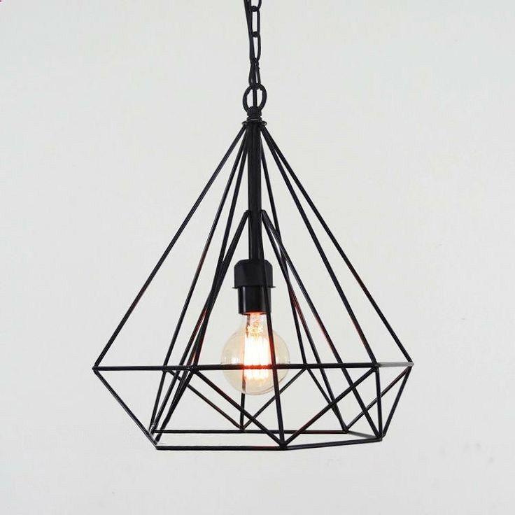Diamond wire cage pendant light / Geometric by TudoandCo on Etsy, $138.00 .