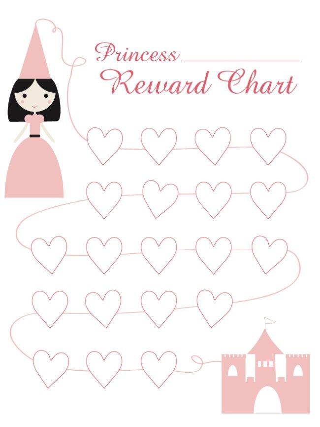 Princess Reward Chart {free printable}  Dinner behavior chart!