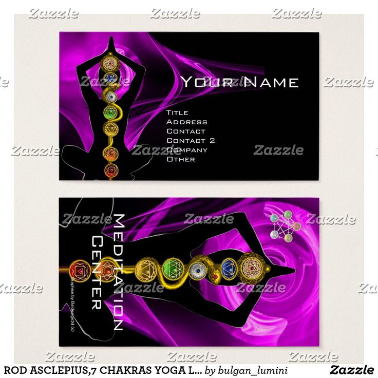 ROD ASCLEPIUS,7 CHAKRAS YOGA LOTUS POSE Purple Black Business Card   #healer #meditation #health #chackra #healing