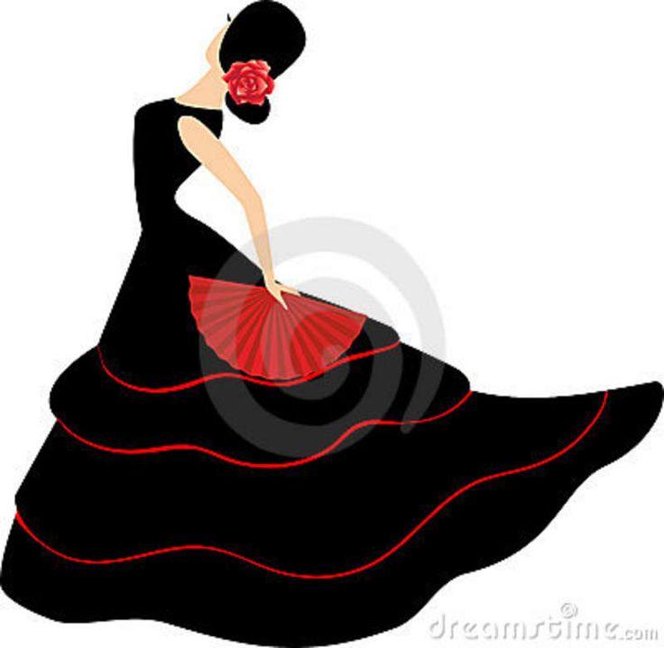 flamenco dancers in spain | Flamenco dancer. Spanish girl with fan dances a flamenco, illustration