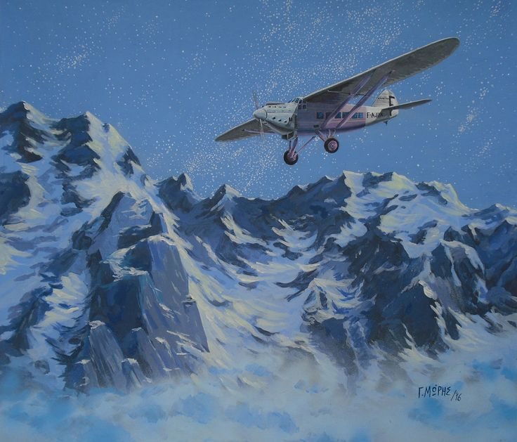 """Night Flight"". (Acrylics on Canvas by Moris Georgios / Μώρης Γεώργιος). Latecoere 28 flight inspired by the book of Exupery: ""Night Flight"""