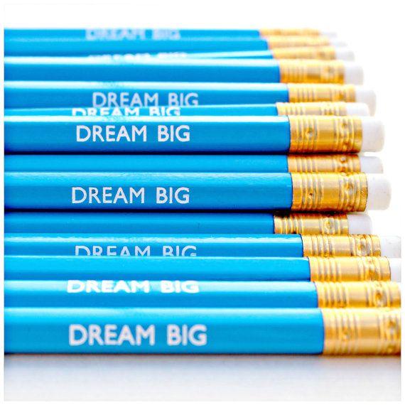 Droom groot potlood | Blauw | Luxe witte folie briefpapier | Gift van de verjaardag | Leuk dit moment | Wolken | Inspirerende | Motivationele | HB potloden