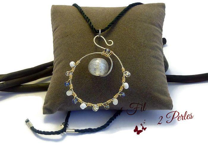 Collier Pendentif Perle de Verre Transparente Givrée - Wire Wrapping Perles Bleues, Blanches : Pendentif par 1-fil-2-perles