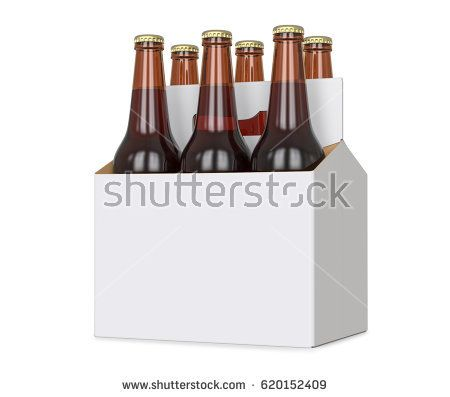 Six pack of Brown beer bottles in blank carrier. 3D render, isolated isolated over a white background.
