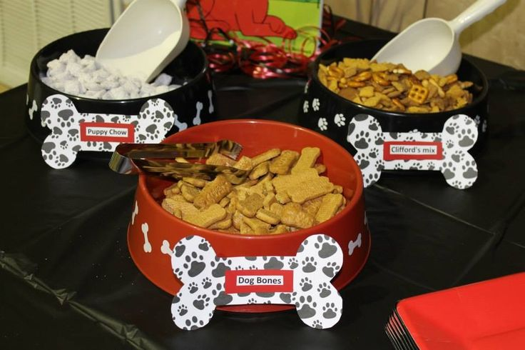 Clifford the big red dog party. Puppy chow, Clifford's mix, dog bones.